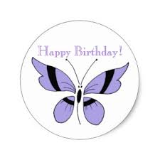 """Purple butterfly """"Happy Birthday"""" round sticker"""