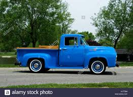 1956 Ford F100 Custom Cab Pickup Truck On Pavement Stock Photo ...