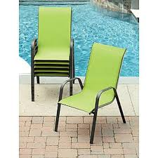 Stacking Sling Patio Chairs by Essential Garden Bartlett Solid Green Stack Chair Outdoor Living