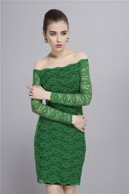 off the shoulder long sleeve green lace cocktail party dresses