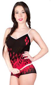 harley quinn dc comics ladies junior mesh camisole and panty set