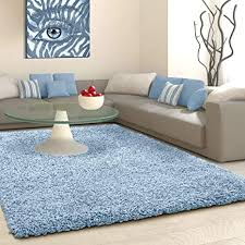 shaggy teppich für wohnzimmer groß weich 5 cm dicker flor modernes schlafzimmer wohnzimmer fusselfrei enteneiblau 200 cm x 290 cm
