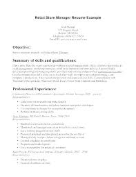 Resume Sample For Retail Position Cover Letter A