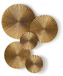 Gold Metal Wall Art Decor Nice Decorative Disc Discs Create