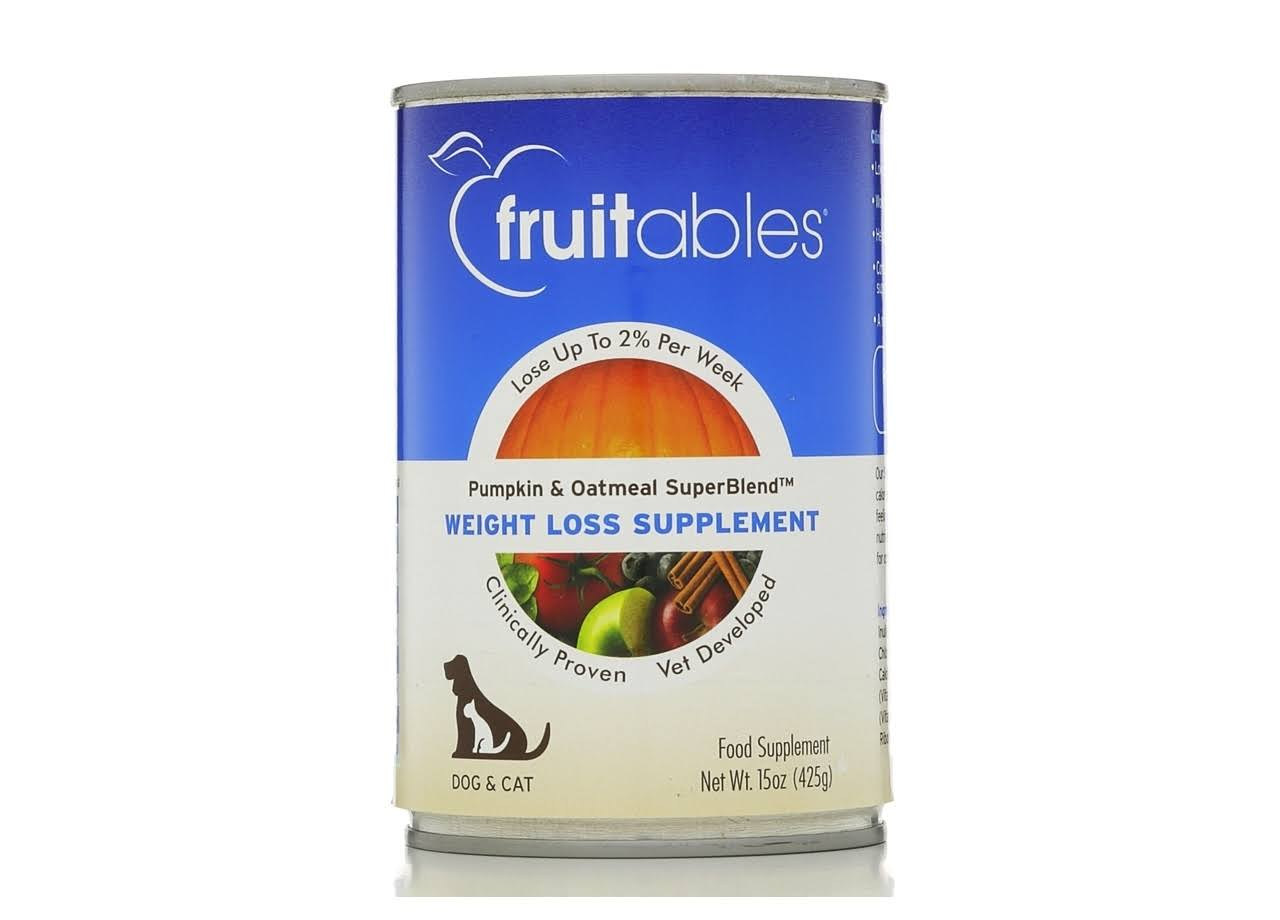 Fruitables Weight Loss Supplement for Dogs Cats Can Food - Pumpkin Oatmeal, 15oz