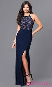 sequined lace bodice long blue prom dress promgirl