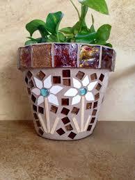 Rustic Mosaic Planter Large Flower Pot Indoor Herb Outdoor Garden Kitchen Handmade Clay Terracotta Fall Decor