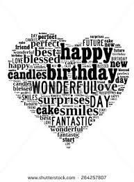 Happy Birthday typography heart shape in vector