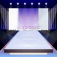 Empty Illuminated Fashion Runway Scene Designer Presentation Poster Vector Illustration