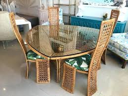 Bamboo Dining Set Ho Table Four Side Chairs Rattan Wicker Tropical 2