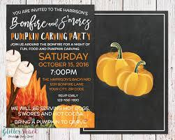 Pumpkin Carving Tool Kit Walmart by Pumpkin Carving Party Invitation S U0027mores U0026 Bonfire