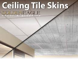 change the look of your drop ceiling with ceiling tile skins from