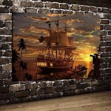 Home Room Wall Decor Pirate Ship Fantasy Art Oil Painting HD