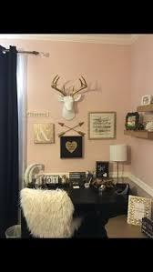Tween Teen Girls Bedroom Decor Pottery Barn Rustic Blush Black Stripped Rug Monogram Antlers Collage Shelves