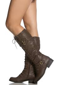 brown faux leather calf length lace up combat boots cicihot