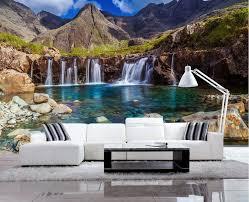 schöne landschaft vlies tapete see wasserfall fototapete 3d hintergrund wanddekoration malerei für wohnzimmer