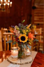 Country Style Sunflowers Wedding Centerpiece