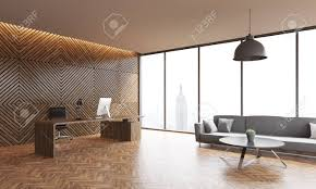 Office Interior With Wooden Walls And Parquet Floor Panoramic Window Computer Table Gray