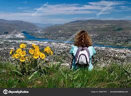 100 Coastal Wenatchee Woman Backpack Sitting Top Mountain Enjoying Scenic Views