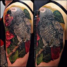 African Grey Parrot Clipart Tattoos 9