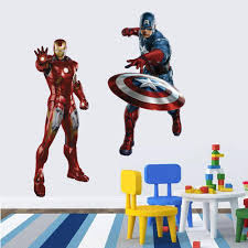 Superhero Wall Decor Stickers by Boys Kids Marvel Avengers Iron Man Wall Stickers Decals Movie Hero