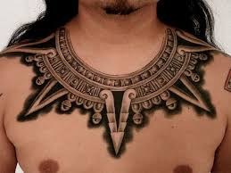 This Tattoo Collar Decorates Guys Neck And Chest With Tribal Aztec Architectural Elements