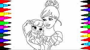 Coloring Pages CINDERELLA And Pet Book Videos For Children Learning Rainbow Colors