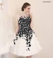 Short Black White Wedding Reception Dresses