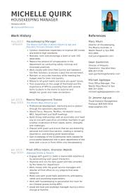 Housekeeping Manager Resume Example