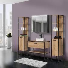 badezimmer set im industrial style 5 teilig manhattan 56 eiche schwarz b h t 200 200 46cm
