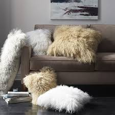 Mongolian Lamb Pillow Cover Stone White Square