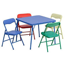 amazon com flash furniture kids colorful 5 piece folding table