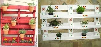 Diy Vertical Red Painted Wooden Pallet Garden Flower Pots