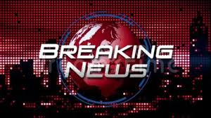 Breaking News Broadcast Title Graphic On Animated Spinning Globe Background Red Stock Video