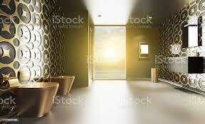 3drendering goldenes badezimmer mit gelb gefliesten wänden großes panoramafenster bronze toilettenschüssel und bidet ausnächster eckestildusche