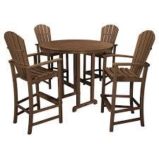 Paloma Coastal Recycled Brown Outdoor Bar Dining Set - 5 Piece