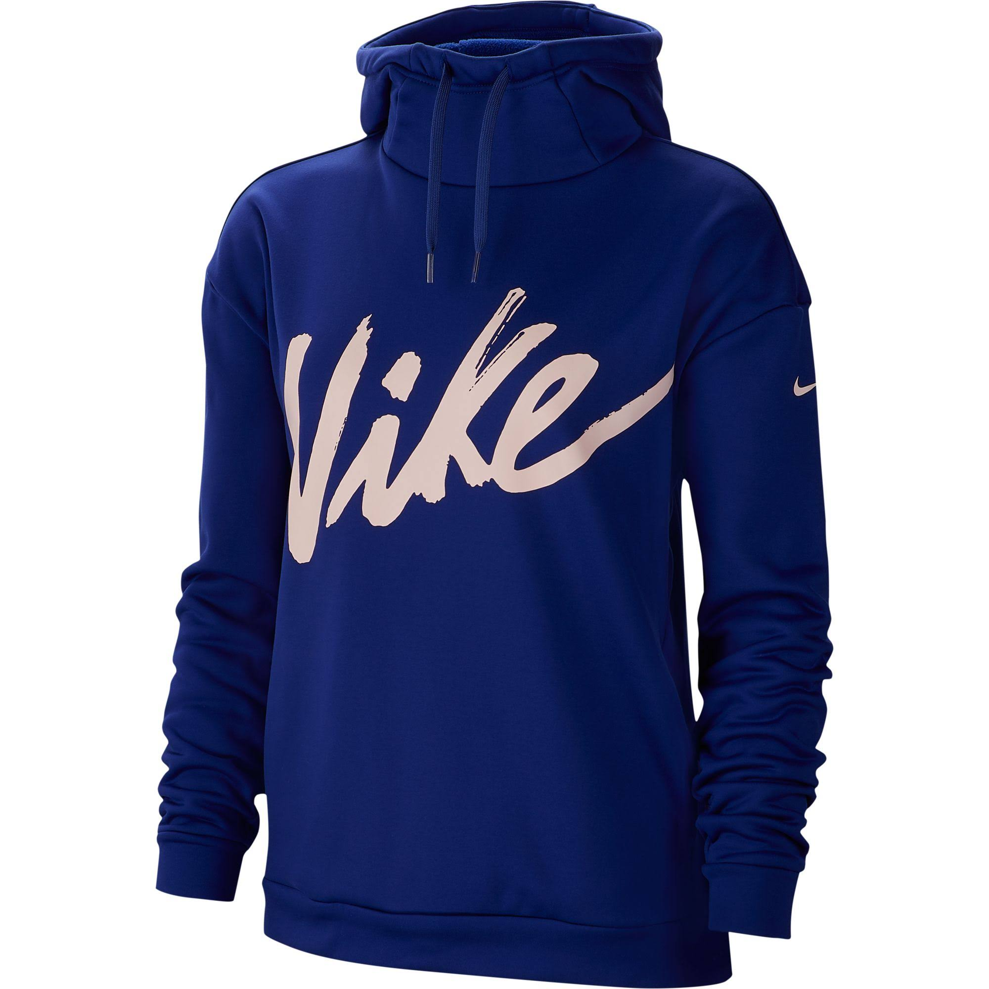 Nike Women's Therma Po Fleece Hoodie, Size: Medium, Blue