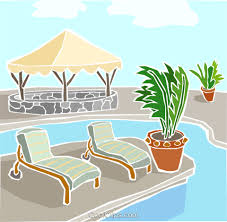 Swimming Pool With Deck Chairs Royalty Free Vector Clip Art Illustration