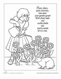Nursery Rhyme Coloring Mary Quite Contrary