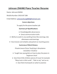 Pianist Resume Sample Music Teacher Contract Template