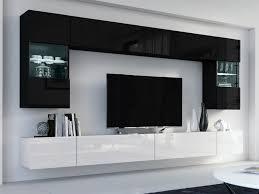 wohnwand fox schwarz hochglanz schwarz weiß hochglanz weiß mediawand medienwand design modern led beleuchtung mdf hochglanz hängewand hängeschrank