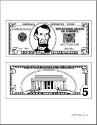 Clip Art Five Dollar Bill Outline coloring page I abcteach