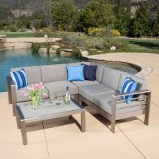 Northcape Patio Furniture Cabo by Denise Austin Home Sonora Outdoor Aluminum 4 Piece Sofa Set With