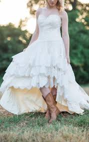 Country Wedding With Lace High Low Hem The Guinevere Dress