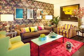 Living Room Ideas Brown Leather Sofa by Excellent Colorful Home Living Room Interior Design With Flower