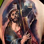 Cross Heart Tattoo Design Of Jesus Carrying The