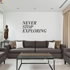 nie aufhören erkunden zitat wand aufkleber büro baby kindergarten inspiration motivation quote aufkleber wohnzimmer vinyl home decor