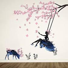 wandtattoo mädchen auf baum swing moose silhouette wand aufkleber mit rosa schmetterlinge dekorative abnehmbare wandsticker diy vinyl wand aufkleber