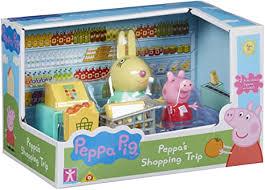 peppa pig set mit 2 figuren und zubehör küche papa wutz oder shopping set mit peppa und rebbeca rabbit ppc45 mehrfarbig