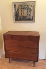 Johnson Carper Mid Century Dresser by Mid Century Modern High Walnut Dresser With Brass Pendant Pulls